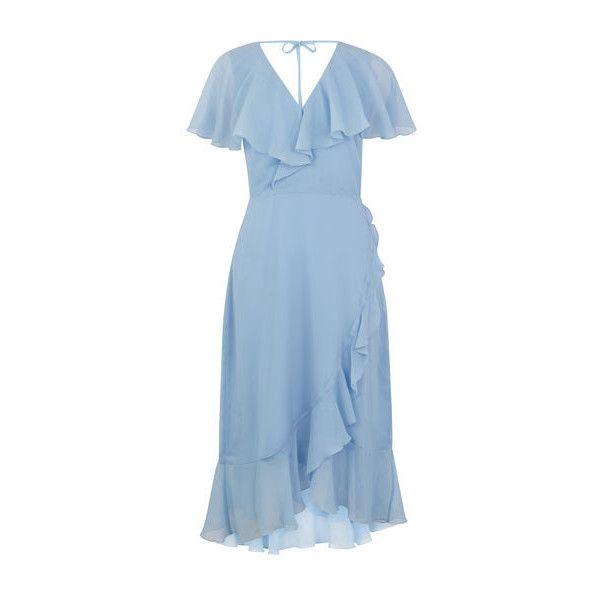 Warehouse Warehouse Soft Ruffle Midi Dress Size 10 ($90) ❤ liked on Polyvore featuring dresses, light blue, frill sleeve dress, blue ruffle dress, ruffle dress, frilly dresses and ruffle sleeve dress