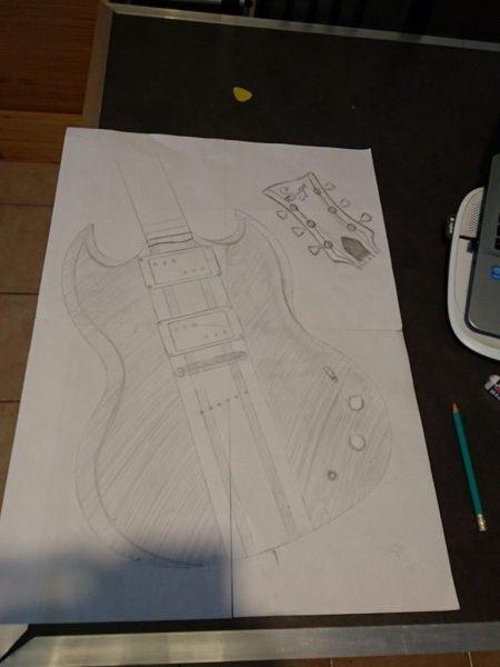 Guitare SG manche conducteur par suge guitars - fabrication d'une guitare de type SG en manche traversant avec les corps en érable et acajou et la touche palissandre