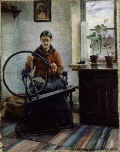 """Ada Thilen """"Akka rukkinsa ääressä"""" vuodelta 1888."""