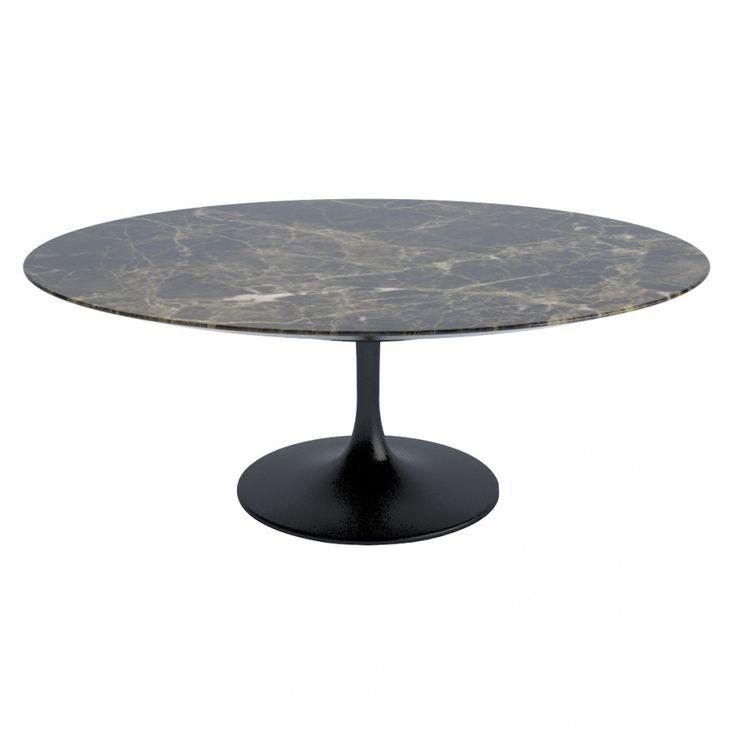 Saarinen Coffee Table Emperador Satin Finish Marble & Black Base