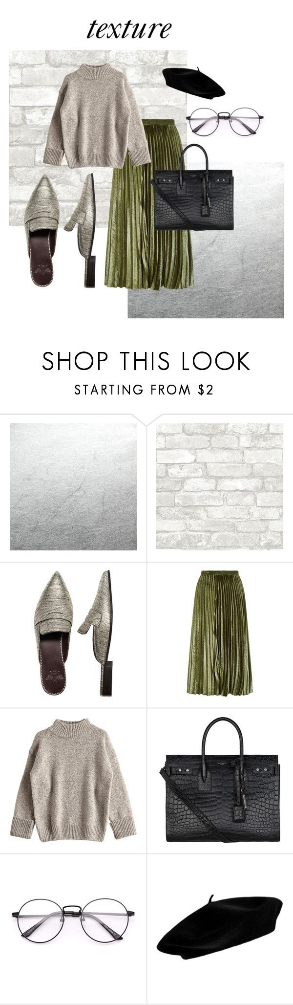 """""""Texture"""" by ehdesign ❤ liked on Polyvore featuring Bougeotte, Whistles, Yves Saint Laurent, skirts, shine, beret and middy"""