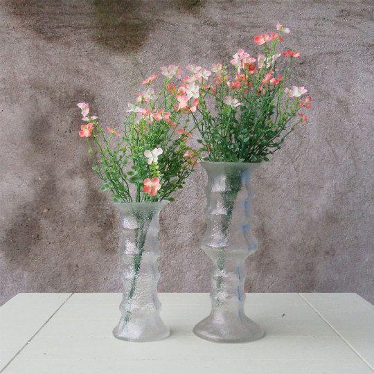 Scandinavian Style EO Brody Brutalist Glass Vases Bark Texture