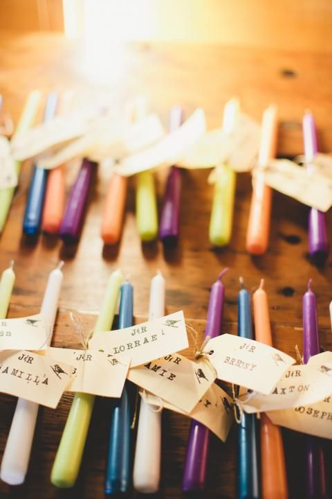 Candle Favors / Rhian & Jake's Bohemian Chic Wedding on The LANE / Brooke Adams Photography
