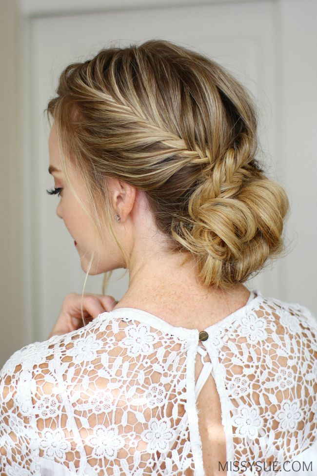 Fishtail French Braid Low Bun