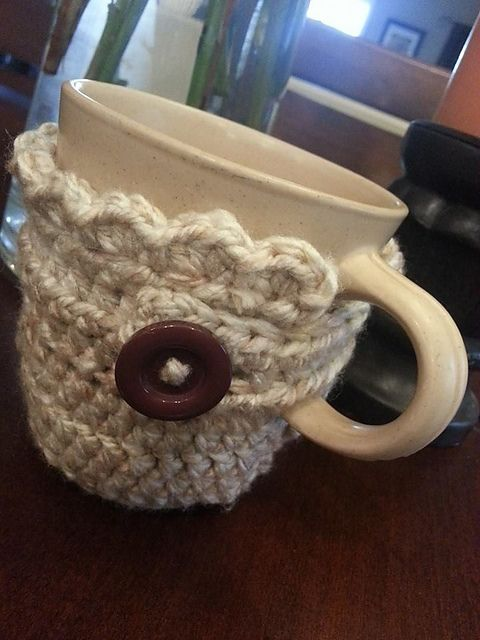 "This pattern can be adjusted to fit your personal mug size. Shown is approx. 3.5"" tall by 8.5"" wide. Rounded cup."