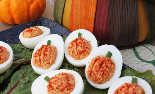 Deviled Egg Pumpkins