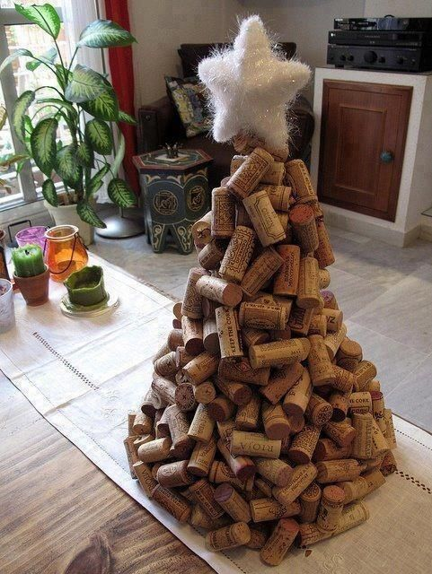 50 amazingly creative alternative Christmas tree ideas-The wine cork one would be cool for the restaurant