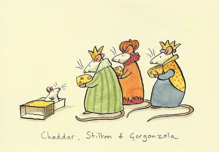"by Anita Jeram - Greeting Cardb ""Cheddar, Stilton & Gorgonzola"""