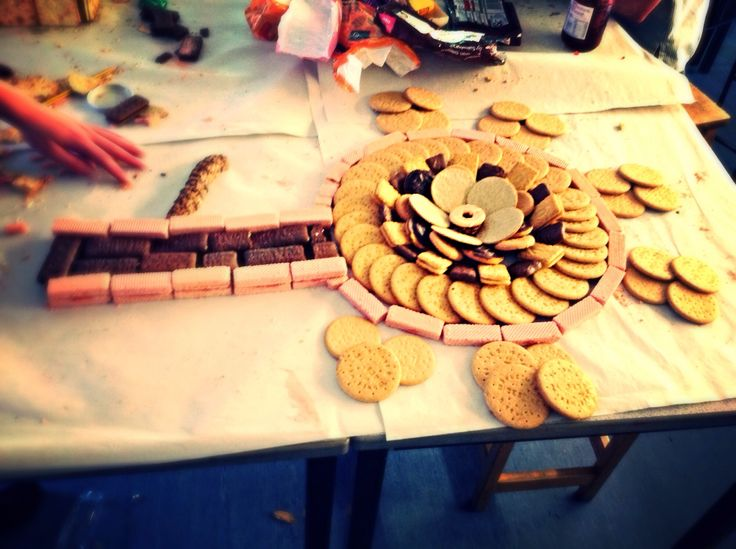 Our sculpture, we made a flower from lots of biscuits. It was based on Claus Oldenberg's work.