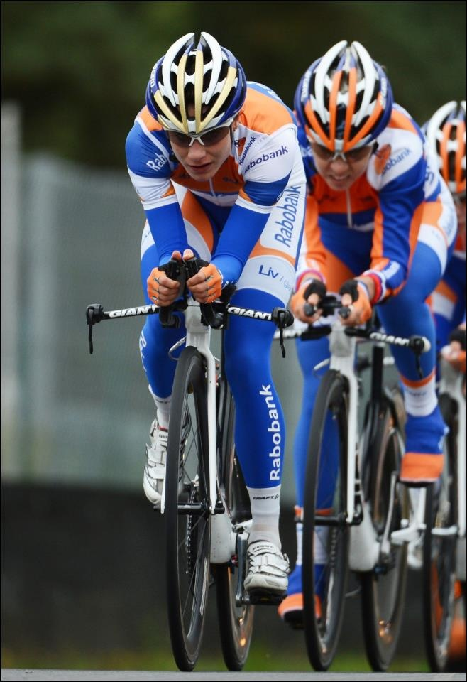 Marianne Vos from Rabobank Team is leading the group during a training session on the race circuit of zolder before the Team Time Trial World Championship in Valkenburg on September 14, 2012 in Zolder, Belgium (©2012 Cor Vos)