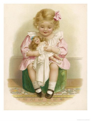 Little Girl in a Pink Dress with a Pink Ribbon in Her Hair Dresses Her Doll    by Ida Waugh
