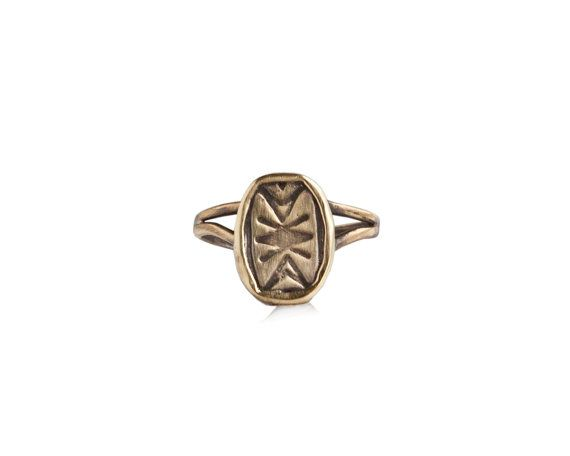 Ring adorned with geometric shapes with aN amorphous coin style metal piece set on top by BreakAStone #breakastone #ring #vintage