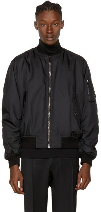 Versace Black Nylon Bomber Jacket