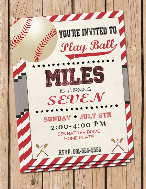 This listing is for a Baseball Birthday Party Invitation. You will receive a 5x7 digital file that you can print from home or your favorite photo lab.