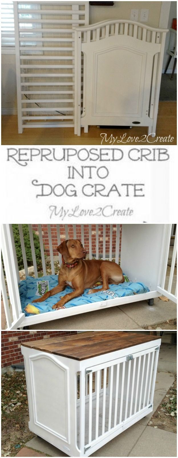How clever is this repurposed crib turned into a dog crate from My Love 2 Create. #DIYspotlight