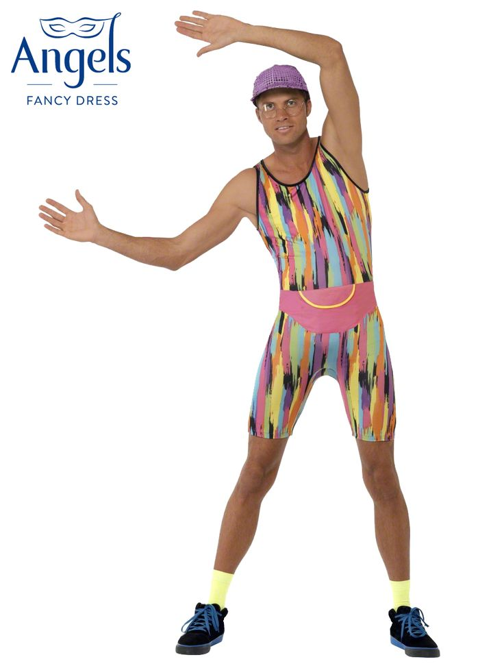 Mr Energizer contains a bright multi coloured jumpsuit, purple sparkly hat and pink bumbag. http://www.fancydress.com/costumes/Mr-Energizer/0~4502191