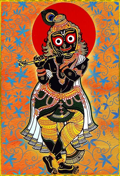 """✨ JAGANNATH SWAMI ✨""""Who holds a flute in His left hand, who wears a peacock feather on His head and a fine yellow silken cloth around His hips, who from the corners of His eyes bestows loving sidelong glances upon His companions, and who is forever known as the one who performs wondrous pastimes in the divine abode of Sri Vrindavana-may that Sri Jagannatha-deva be the object of my vision.""""~Sri Jagannathastakam"""