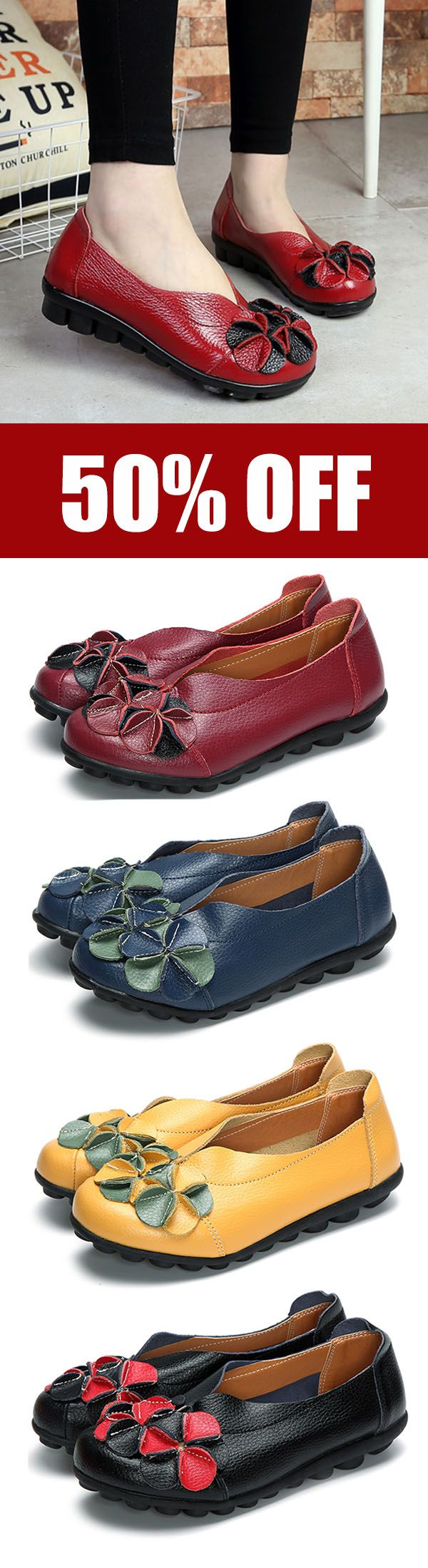 US Size 5-13 Women Flower Flat Shoes Casual Outdoor Leather Slip On Round Toe Loafers. #shoes #leather