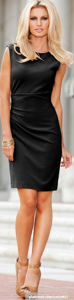 Side Ruched Black Sheath Dress ----- A sophisticated little black dress is a wardrobe staple. The ruching on the side makes this look even more flattering. Keep it classic with a simple blazer and heels or give it a pop of color in the accessories! ----- HugSpeak offers communication coaching for individuals and businesses. We cover your needs from presentations to social media strategy. To see all of our services, visit: www.HugSpeak.com
