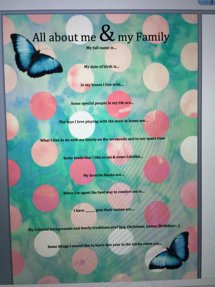 All about me page for information about children
