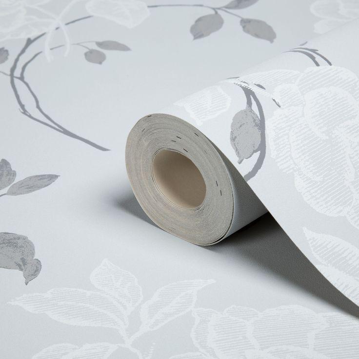Floral Flowers Grey & White Textured Blown Vinyl Wallpaper | Departments | DIY at B&Q