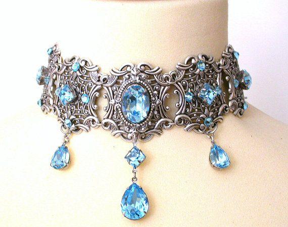 Aquamarine Swarovski Crystal Choker - Victorian Gothic Bridal Silver Choker - Bridal Necklace -Victorian Gothic Jewelry - Wedding Jewelry