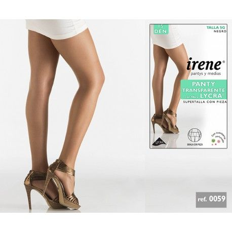 Panty Transparente Irene con pieza trasera supertalla y fibra lycra.  Composición 92 % POLIAMIDA y 8 % ELASTANO , Fibra Lycra 15DEN.  Colores: SCALA, TABAC y NEGRO