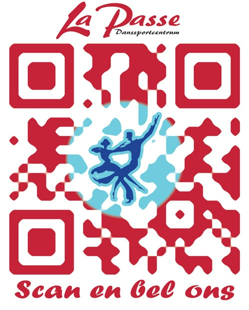 QR code for a dancing center. This one will be placed on the website so customers can scan and call.  QR code design by Clouddog.nl