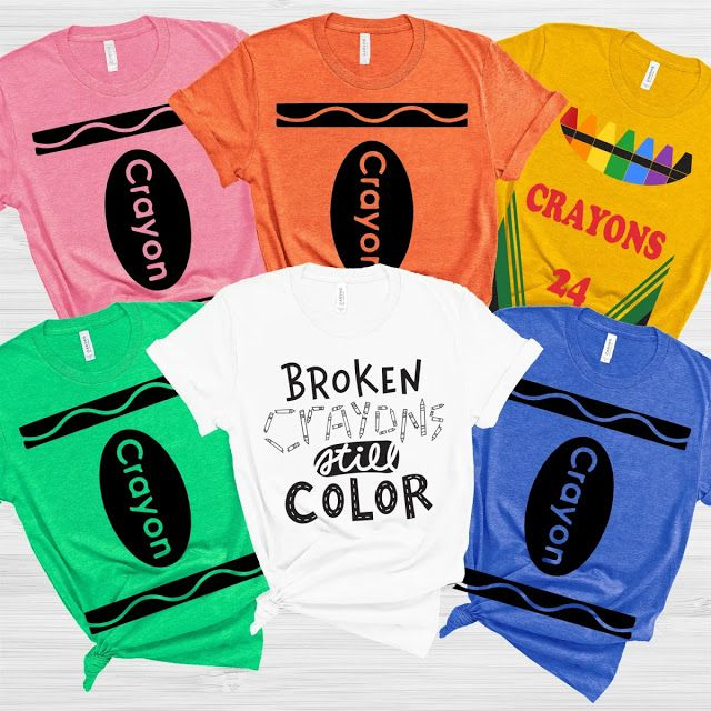 CHOOSE COLOR Juniors Art Crayola Crayon Red Green Blue Pink Costume T-Shirt Tee