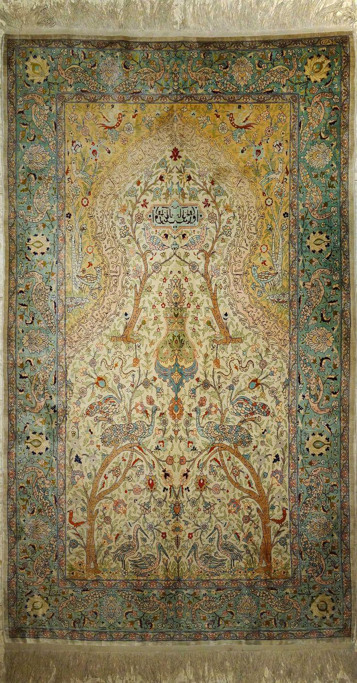 Hereke-Turkey, Pure Natural Silk Rug (140 x 183 cms) 676 Knots per square inch, Mid 20 Century.
