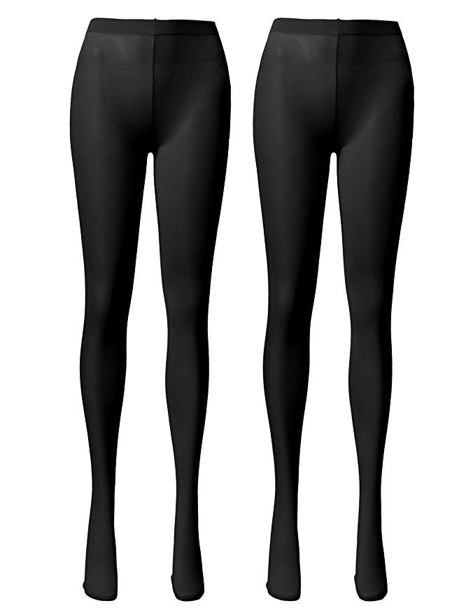 6d6dd6679 OSABASA Women s 80 Denier Semi Opaque Solid Color Footed Pantyhose Tights  2Pair BLACK(KWMT05)