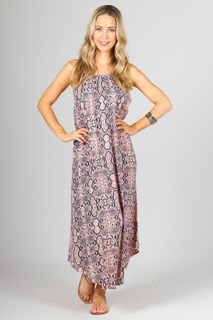 """Aruba Maxi Dress, Pink Snakeskin - A Summer Staple from Paper Scissors Frock. One size fits standard ladies 8-16.  This should be a summer staple.  The Aruba has adjustable staps & rounded hem and also looks great belted to make it a little dressier. This frock is reasonably low under the arms. Free Size. Made from Rayon.  Pictured Model 5'9"""""""
