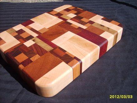 A small, thick, randomized end-grain cutting board for Ritter