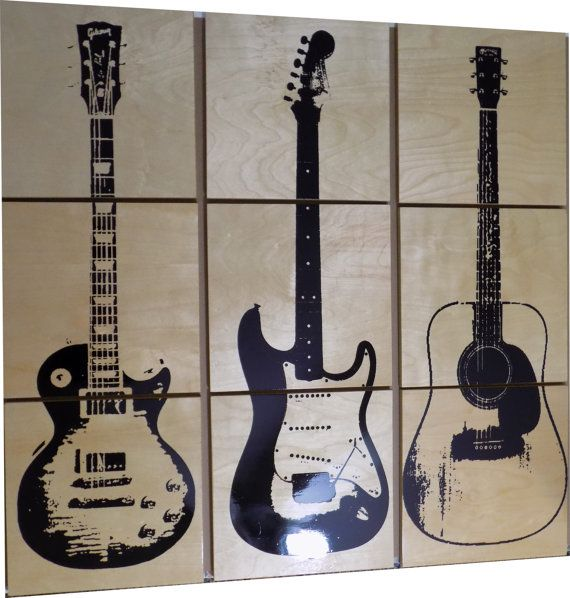 Les Paul Custom Electric Guitar Wood Wall Art / Acoustic guitar/ Gift for Him / Her / Man cave Decor / Garage Art / Music / musician Each panel is