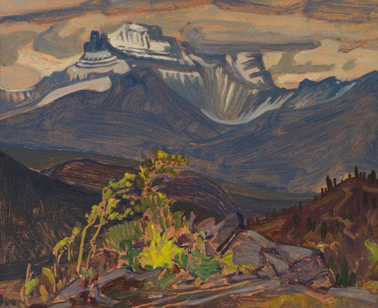 J.E.H. MacDonald - Distant Mountain from Divide Near Hector B.C. 8.5 x 10.5 Oil on board (1928)