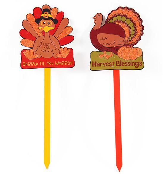 Gobble Til you Wobble!' and 'Harvest Blessings' Yard Signs - 72 Units