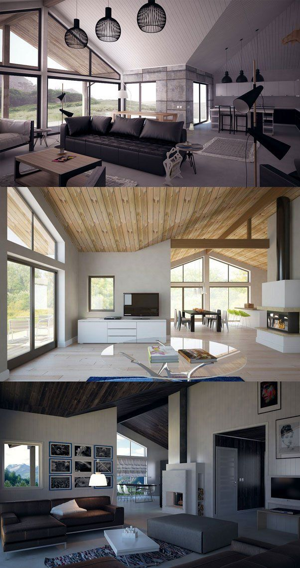 Small Houses Vaulted Ceilings Living Room Interior