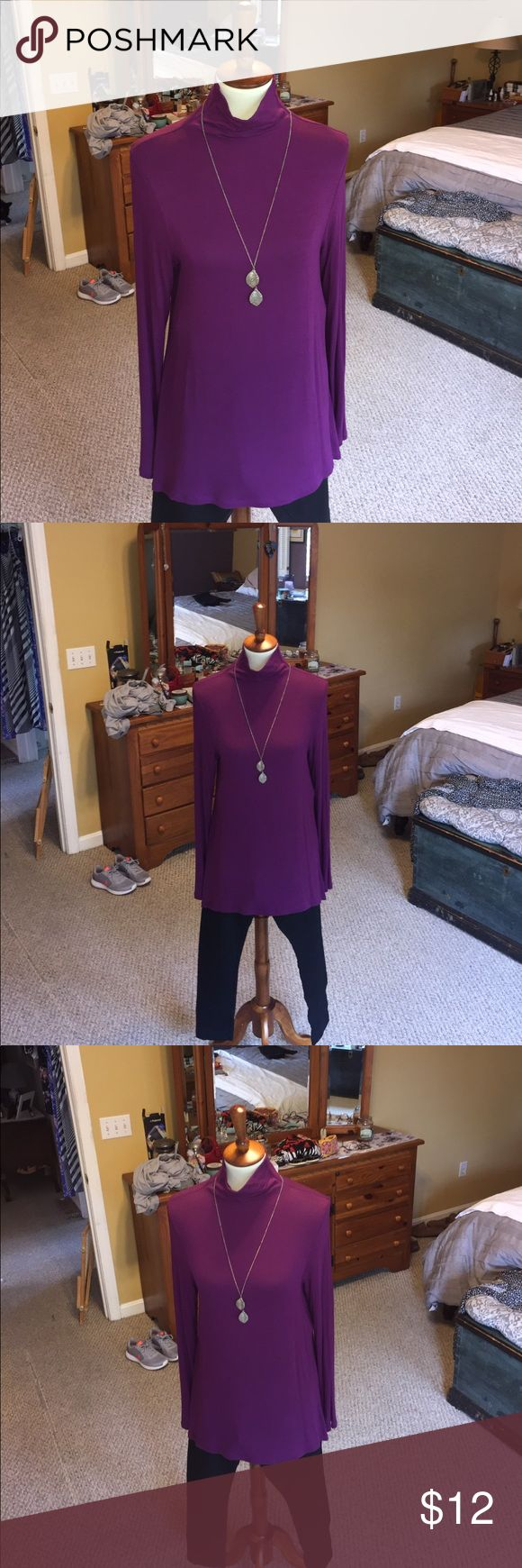 Inc purple turtle neck long sleeve tunic. Inc purple turtle neck long sleeve tunic. Points at hip, see last photo.  95% Rayon, 5 % spandex. Stretchy and super soft. No pulls or imperfections. INC International Concepts Tops Tunics