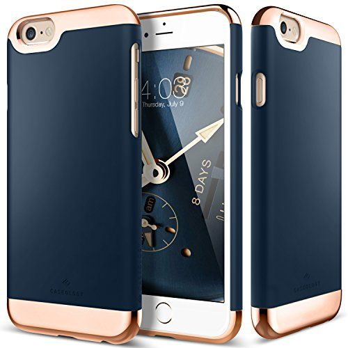 $14.99 iPhone 6S Plus Case, Caseology® [Savoy Series] [Navy Blue] Dual Layer Slider / Soft Interior Cover [Premium Rose Gold Case] for Apple iPhone 6S Plus (2015) Caseology