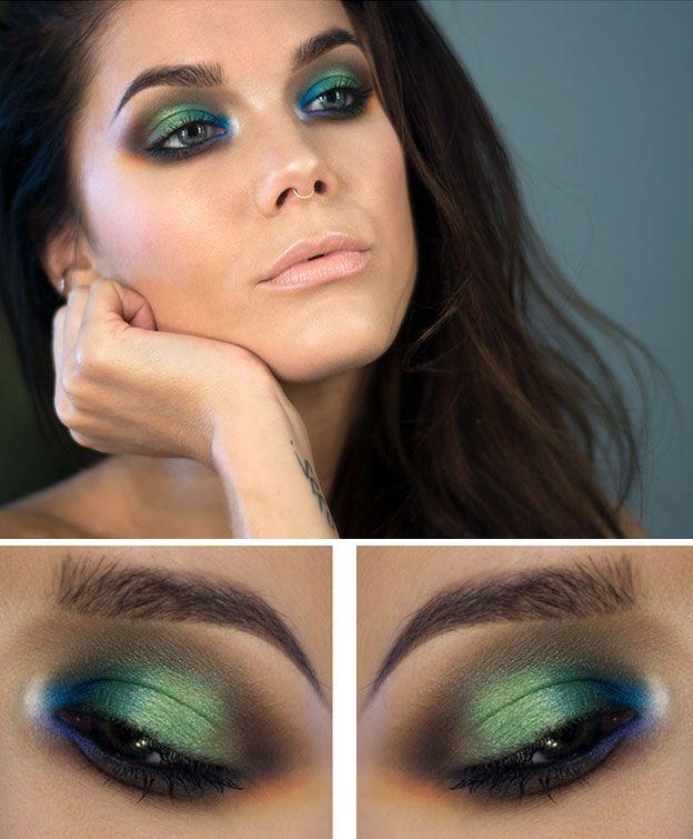 Зеленый макияж для серых глаз фото
