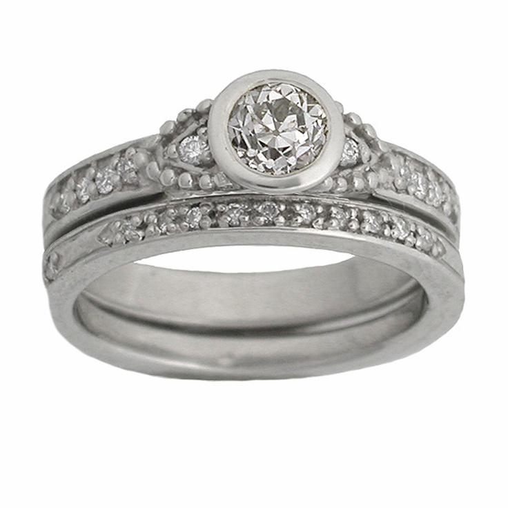 Art Deco Wedding Set In 14k White Gold Engagement Ring Has 1 2 Carat Diamond Unique Eternity