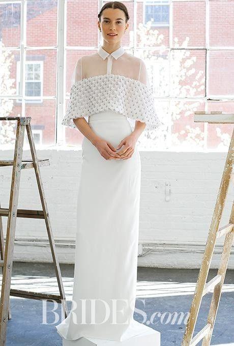 Este modelo de gala, muy sobrio, es para una novia conservadora pero moderna y es un vestido solo para la ceremonia.