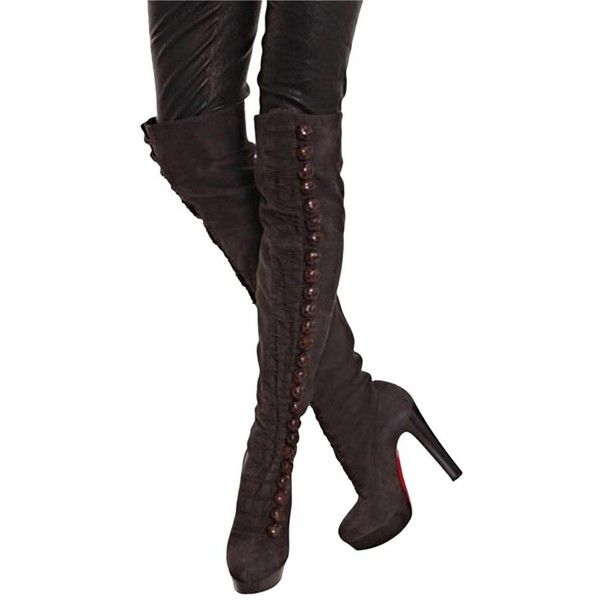 Pre-owned Christian Louboutin Chasse 140 Suede Size 38 Eu Brown Boots ($1,824) ❤ liked on Polyvore featuring shoes, boots, brown, suede shoes, brown low heel boots, short heel shoes, christian louboutin boots and suede boots