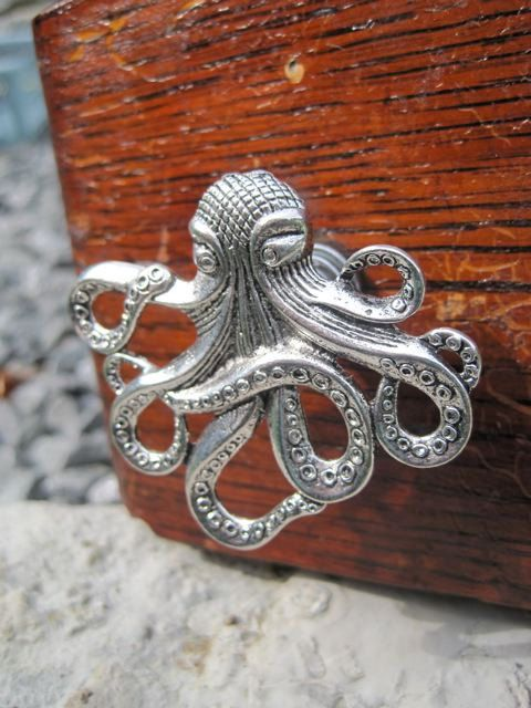 "Knob for the door of my ""new"" sewing table. Love it!    Drawer knob with Steampunk Octopus in Silver Metal MK103 by DaRosa, $7.00"