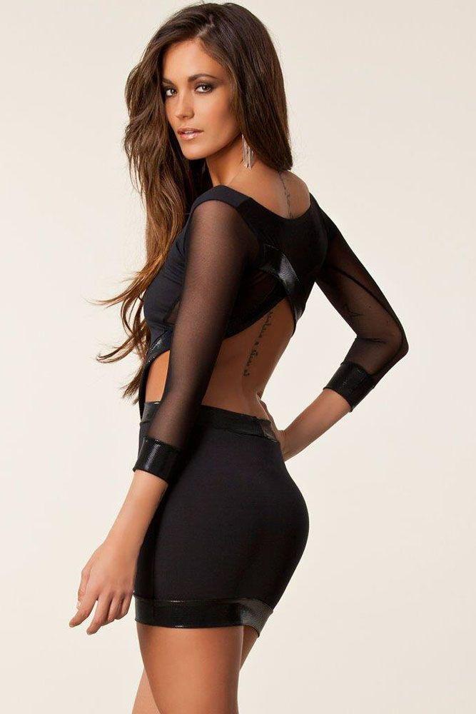 Black Sparkle Backless Cross over Mini Dress