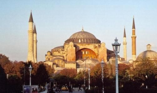 Hagia Sophia.beautiful example of Byzantinian architecture in Istanbul, Turkey. Built in 4th cen, and rebuilt by Constantius, then again by Justinian I.