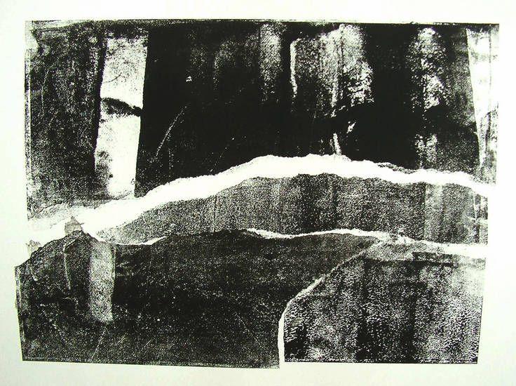 HvE - Structuur van dakpan in prent 3. - zwart-wit monotype, grafische kunst