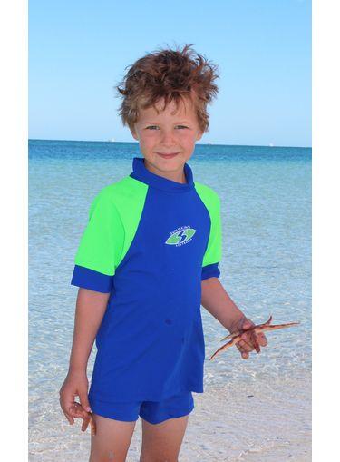 Rash Shirt Cobalt and Lime   Boys Swimwear   Seajewels Swimwear