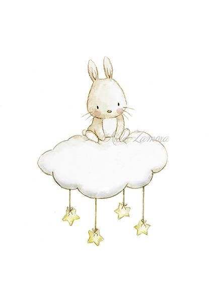 "Nursery Art ""BUNNY CLOUD"" Art Print, Nursery Illustration, Bunny and stars, Nursery wall art, Neutral bunny art, Nursery print, Aida Zamora"