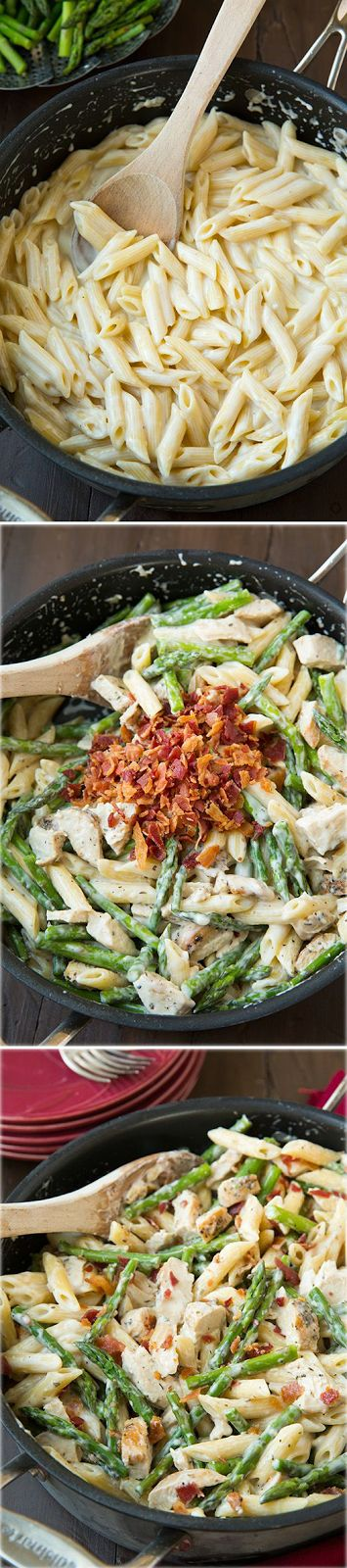 Mouth Watering Foods: Creamy Chicken and Asparagus Pasta with Bacon - this pasta is AMAZING! Like a lighter alfredo pasta with bonus of herbed chicken, fresh asparagus and salty bacon. So good!